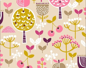 100% Cotton Fat Quarter Dashwood Retro Orchard in Pink