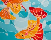 """The Dance"""" Fine Art Painting Print of 100 -- Bright Color & Modern Tropical Hawaiian Fish - Stained Glass Style"""