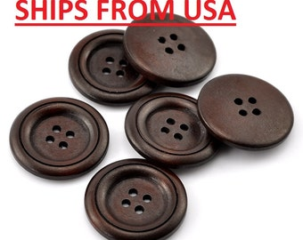 "100 Large Wooden Buttons 1 1/4"", 32mm, Bulk Wood Buttons, Wholesale Wood Buttons Bulk Wood Buttons Wooden Button Dark Brown Finish Buttons"