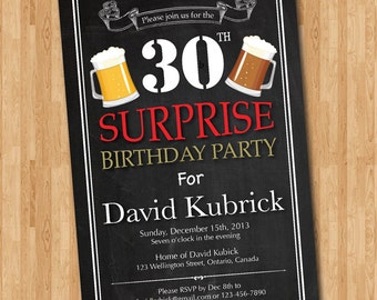Surprise 30th birthday invitation. Beer birthday party invitations. Chalkboard. 40th 50th 60th. Surprise Birthday. Printable Digital DIY.
