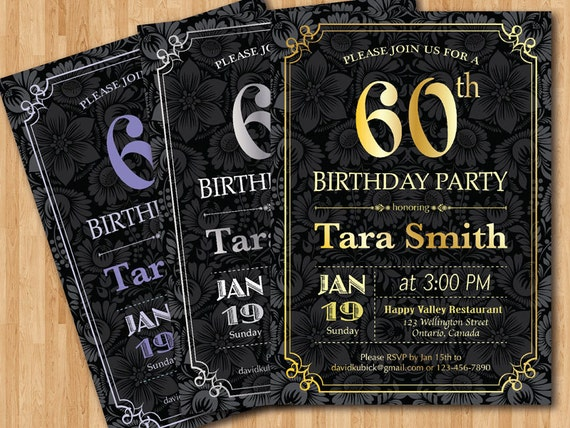 60th Birthday Color Ideas: 60th Birthday Invitation. Gold Silver Or Any Color Chalkboard