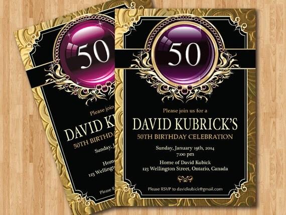 Purple and gold 50th birthday invitations boatremyeaton purple and gold 50th birthday invitations filmwisefo