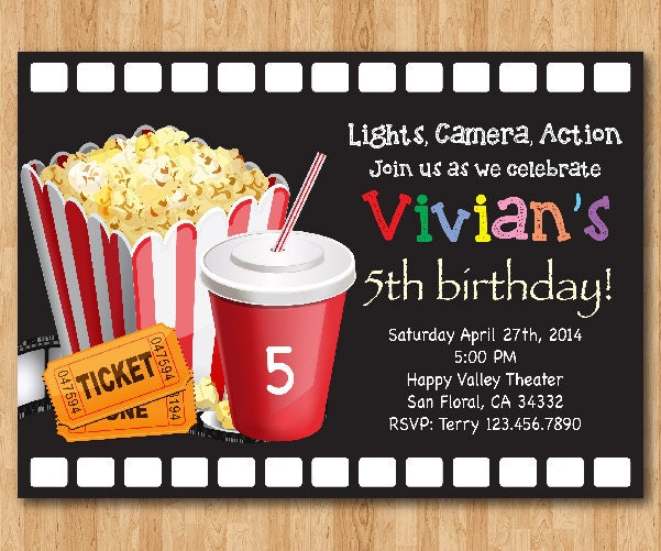 Movie Birthday Invitation Movie Night Birthday Party Invite – Movie Night Birthday Party Invitations