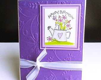 Happy Birthday Greeting Card Flower Birthday Card Purple Floral Birthday Card Handmade Birthday Card Greeting Card Embossed Birthday Card