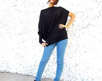 Black Asymmetric Top / Extravagant Tunic Top / Black Top Dress / Black Oversize Tunic TT10