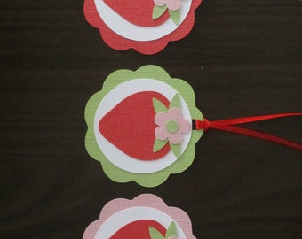 Strawberry Gift Favor Tags Birthday Party Shower Set of 12 Pink Green Red Summer Picnic