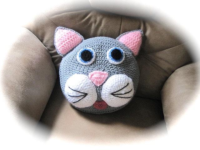 Free Crochet Cat Pillow Pattern : Crochet Pillow Cat Pillow decorative pillow throw pillow