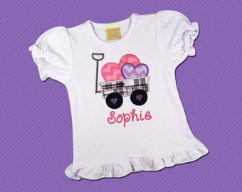 Girl's Valentine Shirt with Hearts in Wagon Shirt and Embroidered Name