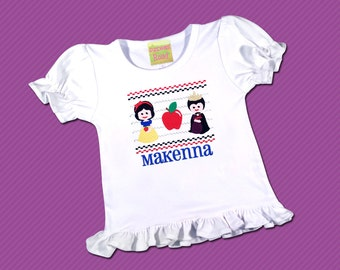 Girl's Snow White Shirt  Faux Smocked with Embroidered Name