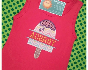 Girls Summer Dress with Glitter Ice Pop Summer and Embroidered Name
