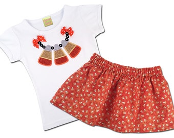 Girl's Halloween Outfit with Candy Corn Necklace Halloween Shirt and Candy Corn Skirt