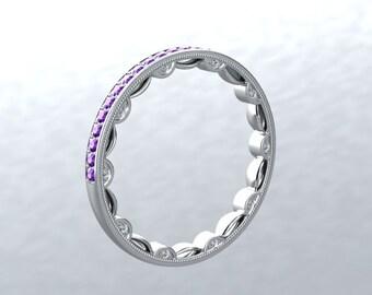 Amethyst Diamond Band 14kt White Gold Round Amethyst and FSI1 Diamonds Wedding  Anniversary Engagement Ring Band Modern Chic Love Inspired