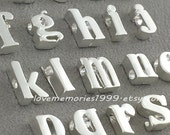 7x5x3mm Matt Rhodium Plated, Sterling Silver Plated Tiny Letters, Silver Alphabet Bead, Lower Case, Small Letter