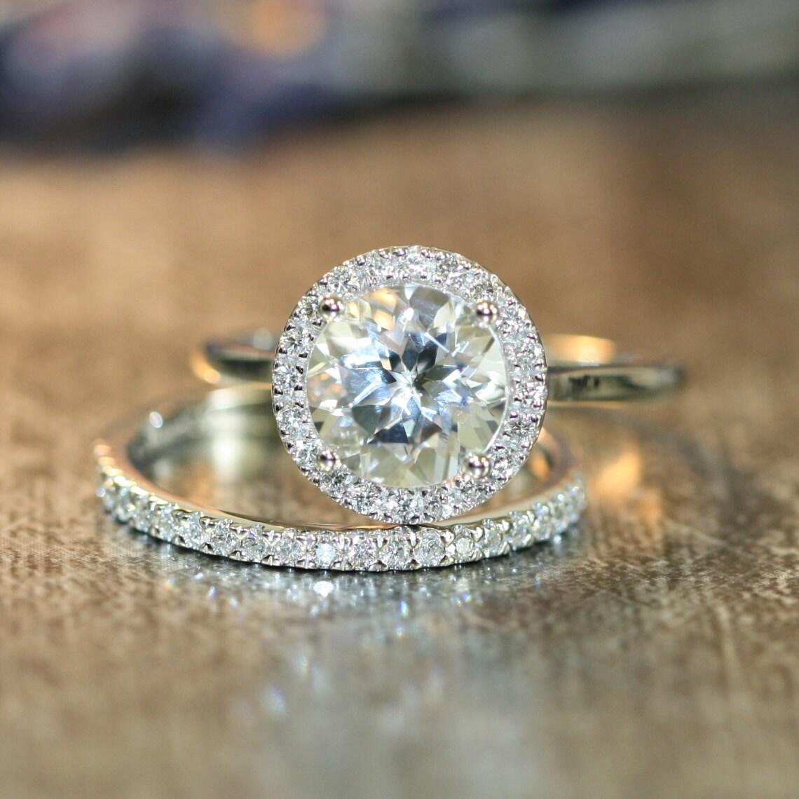 halo diamond white topaz engagement wedding ring by. Black Bedroom Furniture Sets. Home Design Ideas