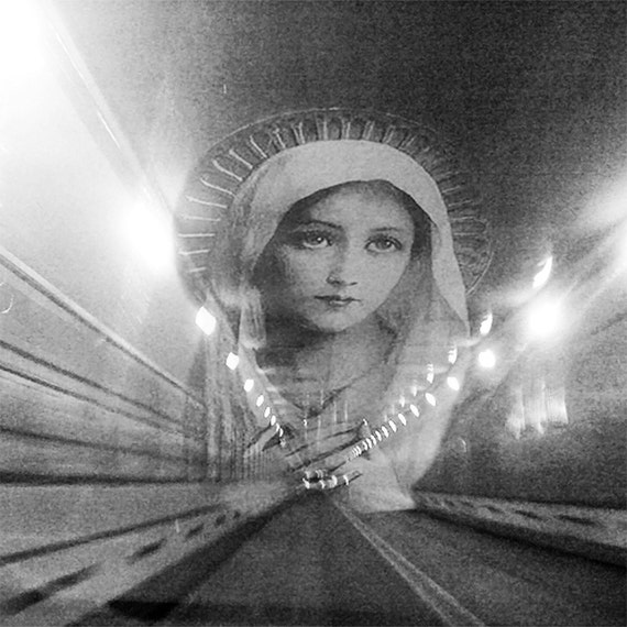 Light At The End Of The Tunnel #2 - Virgin Mary Original Print Madonna Spiritual Wall Art