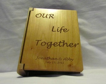 "Custom Engraved Wooden Wedding Photo Album ""Our Life Together"" - Small"