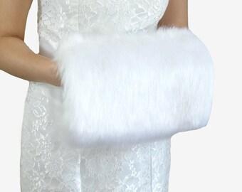 White Faux Fur Hand Muff, White Wedding Hand Warmer, HandMuff For Wedding Stole and  Faux Fur Wrap, Bridal Stole HM108-WHI
