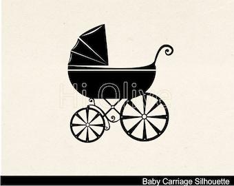 baby stroller clip art,baby carriage clip art,silhouette clip art,black baby stroller,vintage baby stroller clip art, No.45,instant download