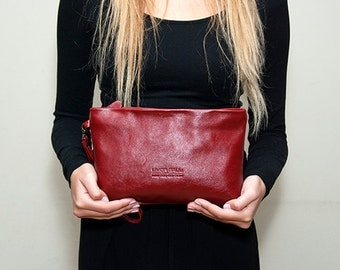 Sale!!! Red Leather Clutch Purse - Evening Clutch Bag, red leather wristlet
