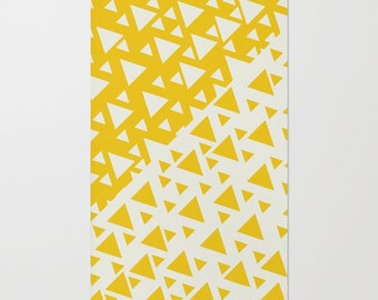 Yellow Triangles Floor Rug