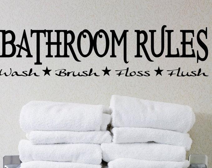 Bathroom rules Wash Brush Floss Flush Wall Decal Vinyl sticker home decor shower door toilet bath  towel soap homecraft phrase lettering