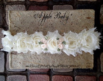 Ivory Baptism Halo with little rosebuds and pearls