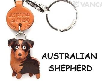 Australian Shepherd 3D Leather Dog Keychain Keyring Purse Charm Zipper pull Accessory *VANCA* Made in Japan #56768  Free Shipping