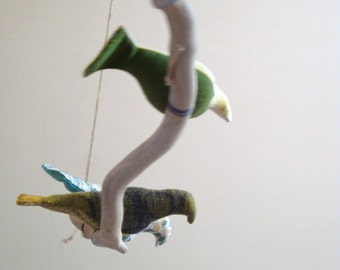 Bird mobiles (large) hand made from vintage and recycled fabric. Original shape