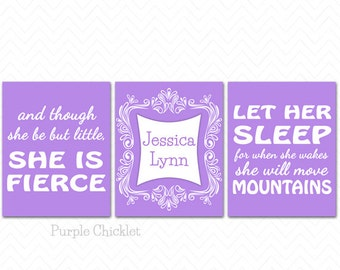 Let Her Sleep For When She Wakes And Though She Be But Little She is Fierce Childs Name Personalized Art Purple Nursery Wall Art Prints