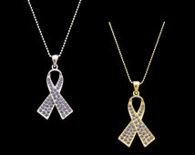 Crystal Periwinkle Ribbon Bow Stomach Cancer Esophageal Cancer Eating Disorders Awareness Pendant Charm Necklace Silver Tone Gold Tone