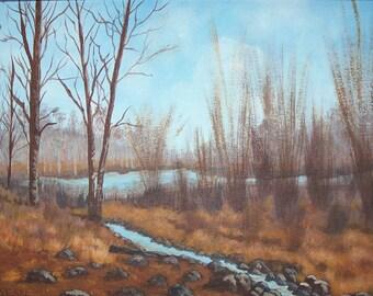 Down to a Trickle Original landscape painting