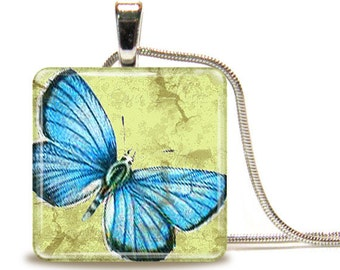 Blue Butterfly, Glass Tile Necklace, Glass Tile Pendant, Glass Cabochon, Blue and Light Green