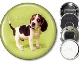 Beagle Puppy Pocket Mirror, Magnet, Bottle Opener Key Ring, Pin Back Button, Beagle Keychain, Beagle Gift, Beagle Accessories
