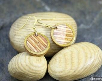 Red stripe & natural hardwood French hook earrings
