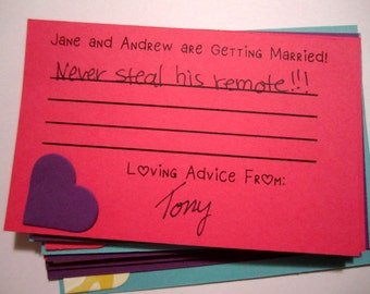 Advice Cards Engagement Party Game Handmade, Wedding Shower, Custom Cards, Baby Showers, Bridal Showers, Bachelorette, Hen Party