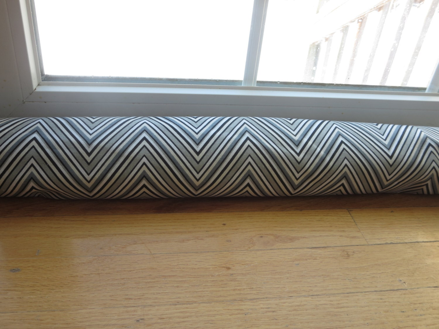 Door draft stopper cover gray chevron door snake gray for Door draft stopper