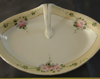 Vintage Hand Painted Nippon Candy Dish with Center Handle