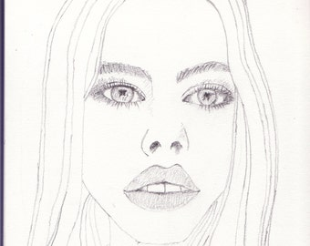 Original Drawing 'Girl A' by John Bliss 2014