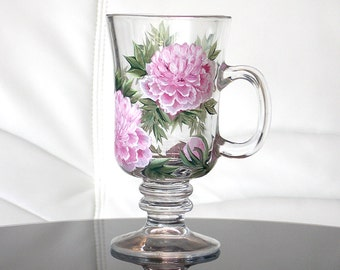 Hand Painted Irish Coffee Mug Pink Peonies Hand Painted Glassware Painted Glass Personalized Painted Coffee Mugs Custom Tea Cups Flowers