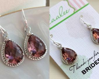 Silver Eggplant Earrings Wedding Jewelry Purple Plum Bridesmaid Earrings Bridesmaid Gift Eggplant Wedding Jewelry Personalized Gift Under 25