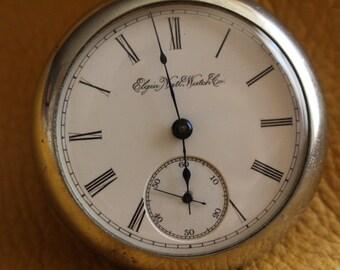 Beautiful 1895 Antique Elgin Watch Co. 7 Jewel S-16 Silverode Case - RUNS !