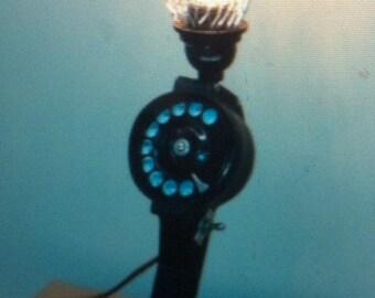 Steampunk repairman's phone lamp. Repurposed light telephone