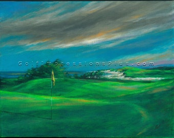 Golf Art. Golf Gift. Golf Wall Decor. Links at Crowbush Cove. Print of original oil painting.