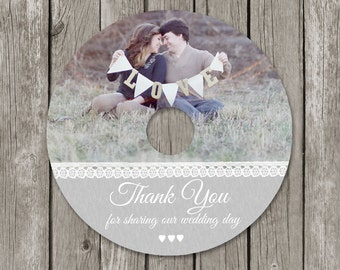 Wedding CD/DVD Label Template - Photography Photo Thank You DVD for Photographers - CL08