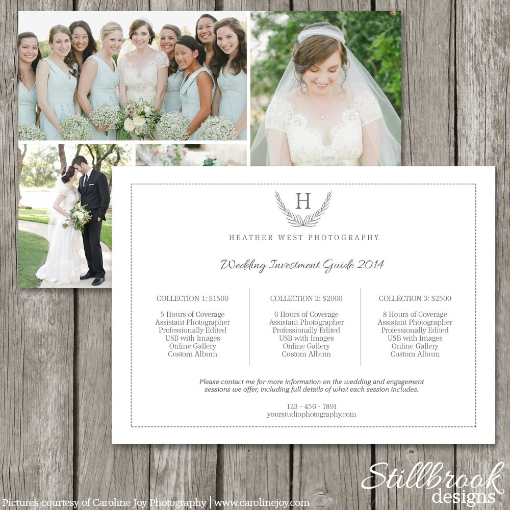 Photography Price List Template Card Wedding Pricing Guide