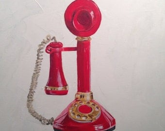 Vintage Red Phone Original Painting by Andrea Holmes
