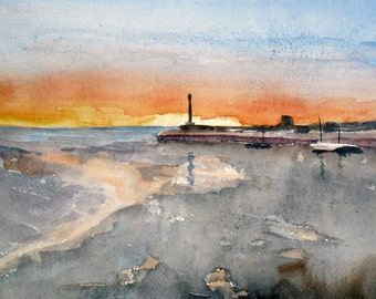 Stunning Sunset Original Watercolor Painting Margate     Harbour Arm