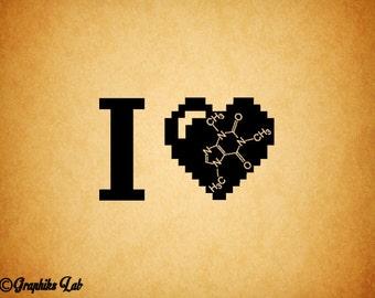 I Love Caffeine Decal 8 Bit Heart Vinyl Decal Sticker