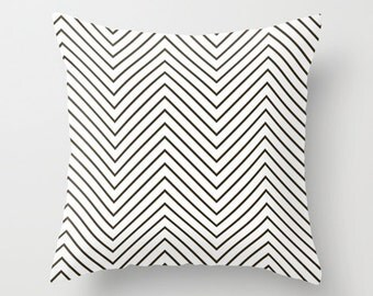Velveteen Pillow - Black and White Pillow Cover - Decorative Pillows - Chevron - Cushion Cover - Teen Decor - Dorm Pillow - Girls Bedding
