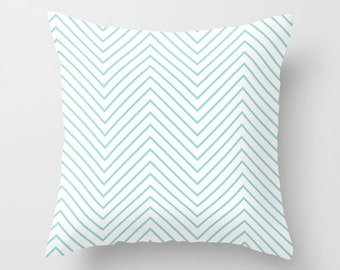 Velveteen Pillow - Aqua Chevron - Aqua Throw Pillow - Turquoise - Chevron Pillow Cover - Housewarming Gift - Girls Decor - Teen Room Decor